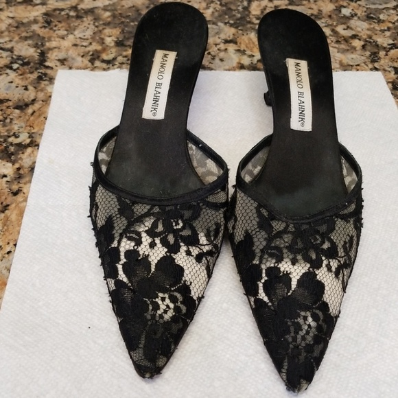 fc4f3053e362c Manolo Blahnik Shoes | Black Lace Mules | Poshmark